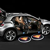 iTimo 2pcs Wireless Battery Operated Led Car Door Logo Emblem Projector Lights Auto Magnetic Easy Install Courtesy Welcome Shadow Lamp With 6AAA included (Superman)
