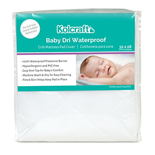 Kolcraft Baby Dri Waterproof Fitted Toddler & Baby Crib Mattress Pad Cover/Protector, White, 52