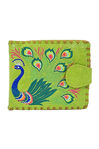 Lavishy Sacred Peacock Embroidered Medium Wallet (Green)