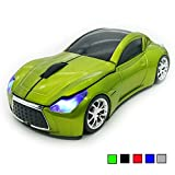 TDRTECH Wireless Car Mouse 2.4Ghz 3D DPI 1600 Cool Sport USB Gaming Mouse Mice for PC Computer Laptop Notebook Green