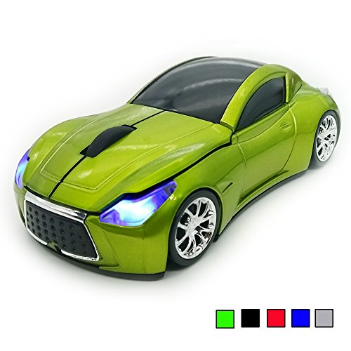 Mouse 2.4Ghz 3D DPI 1600 Cool Sport USB Gaming Mouse Mice for PC Computer Laptop Notebook Green (Mini Car Shape)