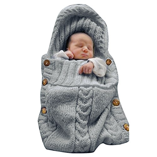 Large Product Image of XMWEALTHY Newborn Baby Wrap Swaddle Blanket Knit Sleeping Bag Sleep Sack Stroller Wrap for Baby(Dark gray) (0-6 Month)