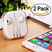 E-Universal Latest New Earphones with Microphone Premium Earbuds [2 Pack] Stereo Headphones and Noise Isolating headset Made for iPhone iPod iPad Samsung Galaxy LG HTC - White