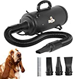 Bonnlo 4.2HP Double Motor Professional Pet Dog Grooming Hair Dryer Force Blower for Large Dogs and Pet Grooming with Comb (Black)