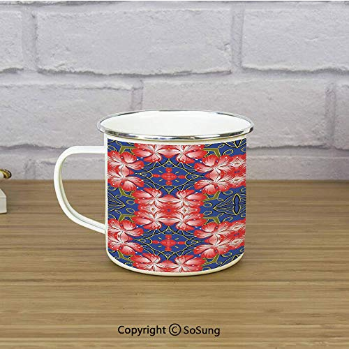 Floral Enamel Coffee Mug,Blooms Pattern on Diamond Shaped Bands Vibrant Flowers Glamour Beauty Print,11 oz Practical Cup for Kitchen, Campfire, Home, TravelRoyal Blue Red - Diamond Bands Enamel