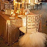 72x108-Inch Gold rectangle sequin tablecloth banquet/ceremony shimmer tablecloth (72x108-Inch, Gold)
