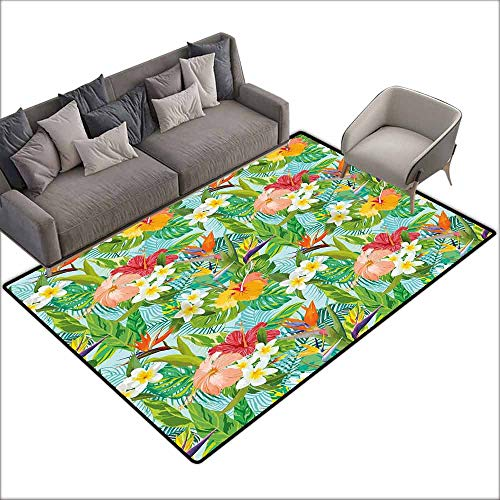 Dining Table Rugs Leaf,Vintage Cartoon Style Image of Hawaiian Flowers Crepe Gingers,Blue Light Green Orange and Pink 36