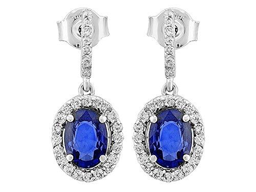 Birgie Diamants et Bijoux -Boucles d'Oreilles Saphir Oval et Diamants-Femme- or Blanc 203E0012