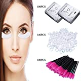 3x100 Packs-Eyelash Lash Extension Under Eye Gel Pads Lint Eye Patches & Eyelash Mascara Wands Applicator & Eyebrow Tatto Glue Ring Holder