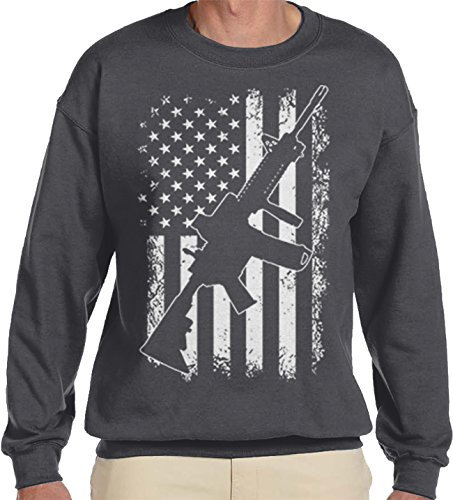 Amdesco Men's White Distressed American Flag with AR-15 Crewneck Sweatshirt, Charcoal Grey (Ar Red Charcoal)