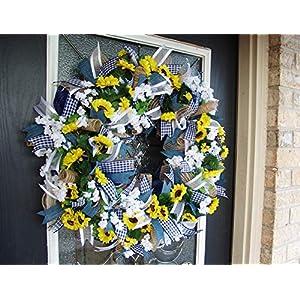 Country Blue Sunflower Wreath, Decor, Fall, Spring, Summer, Front Door, Burlap Wedding Farmhouse Decor, French Country Decor 5