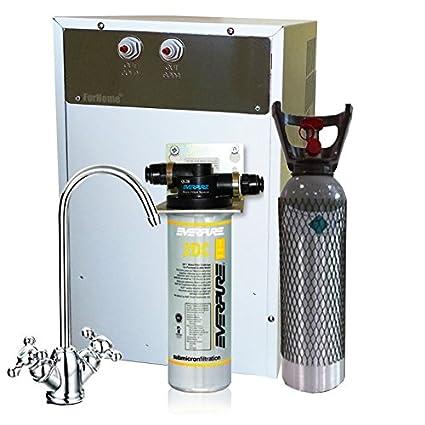 Purificador agua enfriador carbonatador con Everpure de bajo fregadero - Agua gasata refrigerata - Rub.