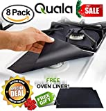 QUALA QUAL Gas Range Protectors Free Oven Liner Stove Protector Burner Cover Cook Top Hob Liners, Heavy Duty Reusable Easy Clean Non Stick FDA Approved, 8 Piece