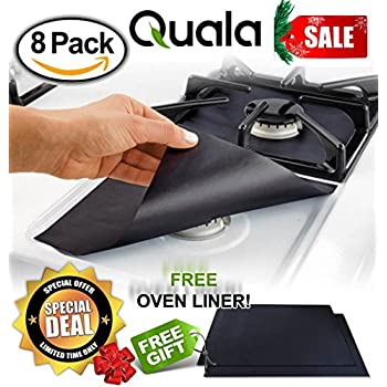 QUALA Gas Range Protectors 8 Pack + FREE OVEN LINER ! - Stove Protector, Burner Cover, Cook Top Hob Liners .2MM THICK Heavy Duty Reusable Easy Clean Non Stick (10.5 x 10.5) FDA Approved