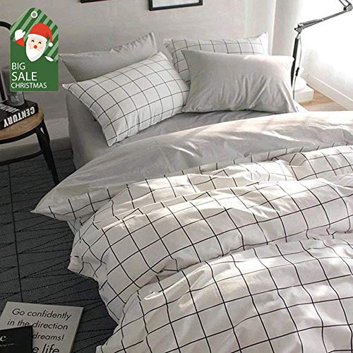 VClife Queen/Full Duvet Cover Set Cotton Bedding Set Collection with 2 Pillow Shams Grey White Checkered Style -