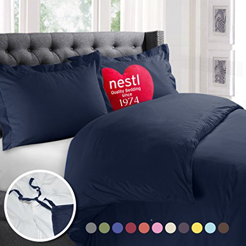 Nestl Bedding Duvet Cover, Protects and Covers your Comforter / Duvet Insert, Luxury 100% Super Soft Microfiber, Cal King Size, Color Navy Blue, 3 Piece Duvet Cover Set Includes 2 Pillow Shams - Blue Pillow Cover