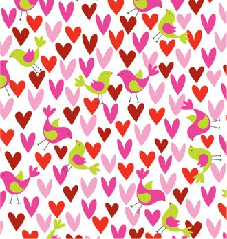 Birds & Hearts Gift Wrap Roll 24'' X 15' by Premium Gift Wrap