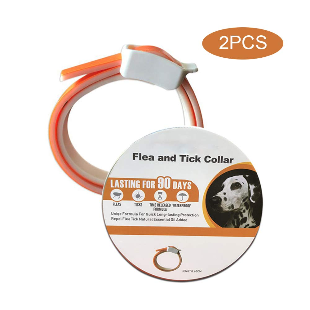 UTOPIAY Flea and Tick Collar for Dogs,Repellent Pest Control Collars-Natural Plant Essential Oil Formula 3 Months Protection,Adjustable 23'' Length for Small Medium Large Pets(2PCS)