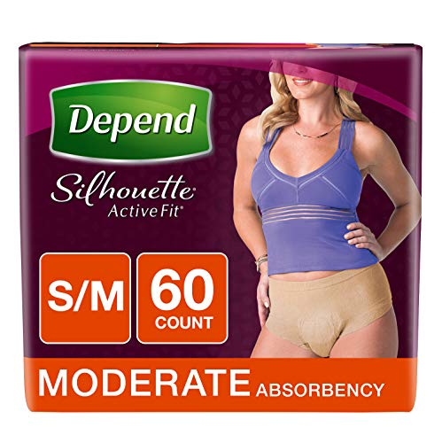 - Depend Silhouette Active Fit Adult Diapers for Women, Moderate Absorbency, S/M, Beige, 60 Count
