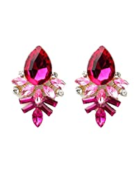 Coromose Fashion Women Lady Rhinestone Crystal Drop Alloy Ear Studs Earrings (Hot Pink)