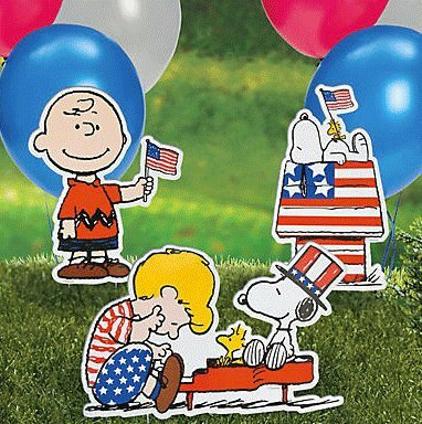 Peanuts Worldwide Charlie Brown Schroeder Snoopy Patriotic Yard Signs, Set of 3, 19-Inch x ()