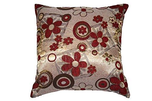 Violet Linen Victoria Chenille Jacquard Daisy Design Decorative Cushion Cover, 17