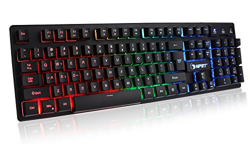 51z56SkR07L - NPET-K10-Wired-Backlit-Floating-Gaming-Keyboard-Mechanical-Feeling-Rainbow-Illuminated-Gaming-Keyboard-for-PC-Laptop-Computer