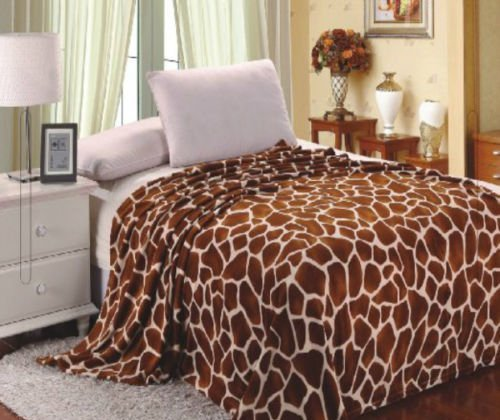 Home Must Haves Brown Ultra Soft Micro Plush Luxurious Flannel Fur All Season Premium Bed Blanket (Twin 75''x80'', Giraffe Skin Print) Beige by Home Must Haves