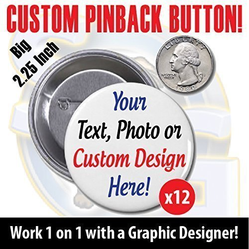 CUSTOM MADE FOR YOU PINBACK BUTTON DESIGN! 20 Personalized Badges. TWENTY Custom Buttons! School Church Work Home Sports Weddings Anything!