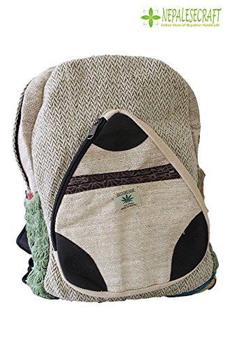 Hemp Handmade Himlayan Backpack ( THC FREE) with Laptop Sleeve - Fashion Cute Travel School College Shoulder Bag / Bookbags / Daypack ()
