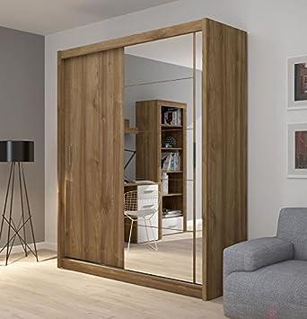 Grande armoire à 2 portes à miroir et portes coulissantes Fado ...