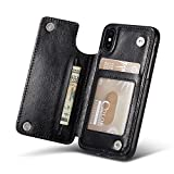 For iPhone X Wallet Case, Marval.P Slim Premium Leather iPhone Wallet Case Card Slots Shockproof Folio Flip Protective Defender Shell Magnetic Clasp Kickstand Holder for Multi iPhone Case Cover Pouch