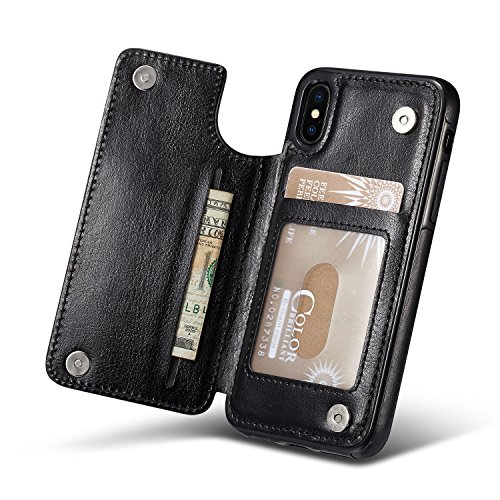 For iPhone X Wallet Case, Marval.P Slim Premium Leather iPhone Wallet Case Card Slots Shockproof Folio Flip Protective Defender Shell Magnetic Clasp Kickstand Holder for Multi iPhone Case Cover Pouch by Marval Power