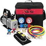 XtremepowerUS Premium 4CFM Air Vacuum Pump HVAC A/C Refrigeration Kit AC Manifold Gauge Case Set R134a Tap w/Leak Detector and Carrying Tote Bag
