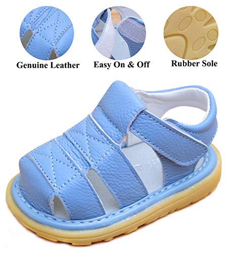 LONSOEN Toddler Boy Girl Summer Outdoor Closed-Toe Leather Sandals(Infant/Toddler),Blue KSD002 CN21