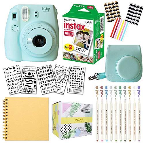 Fujifilm Instax Mini 9 Instant Camera (ICE Blue) + Fuji INSTAX Film (20 Sheets) + Bundle with: Groovy Camera Case + Scrapbook Photo Album + Stencils + Metallic Markers + Photo Corners
