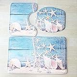 PLLP 3D Bathroom Mat, Marine Non-Slip Absorbent Bathroom Mat 3D Flannel Printed Toilet Seat Three-Piece Mat,C,50803