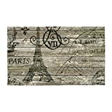 CafePress - Vintage Paris Eiffel Tower Scripts 3'X5' - Decorative Area Rug, Fabric Throw Rug