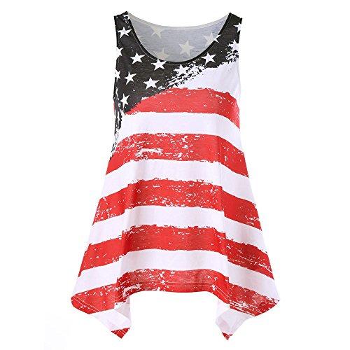 (American Flag Printed Vest Ladies Sleeveless Summer Loose Casual Tops Summer Fashion T-Shirt Shirt MEEYA Red)