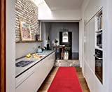Red Rug Ottomanson Ottohome Collection Carpet Aisle Solid Hallway Kitchen Runner Rug with Non-Skid (Non-Slip) Rubber Backing, 20