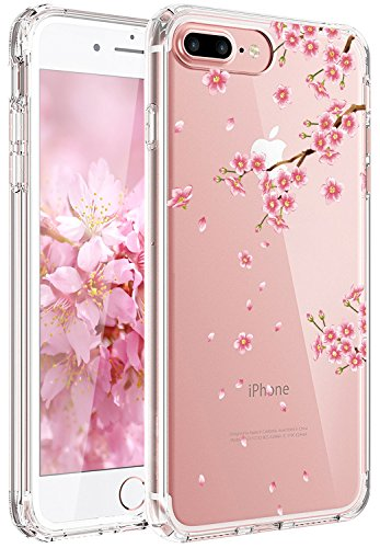 JAHOLAN iPhone 7 Plus Case, iPhone 8 Plus Case Girl Floral Clear TPU Soft Slim Flexible Silicone Cover Phone Case for iPhone 7 Plus iPhone 8 Plus - Pink Peach Blossom