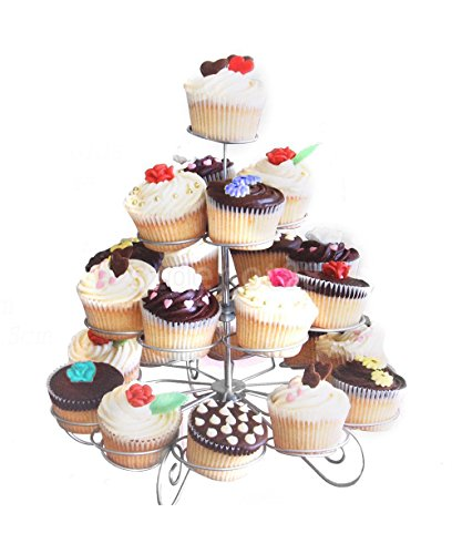 Cupcake Stand for Birthdays and Party's, 4 Tier Cupcake Holder for 23 Cupcakes and Desserts, Metal Dessert Stand
