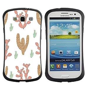 """Hypernova Slim Fit Dual Barniz Protector Caso Case Funda Para SAMSUNG Galaxy S3 III / i9300 / i747 [Patrón Cactus Desierto Dibujo de la historieta""""]"""