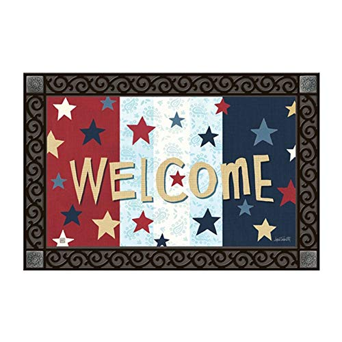 Studio M MatMates Liberty Flags Summer Patriotic Decorative Floor Mat Indoor or Outdoor Doormat with Eco-Friendly Recycled Rubber Backing, 18 x 30 Inches