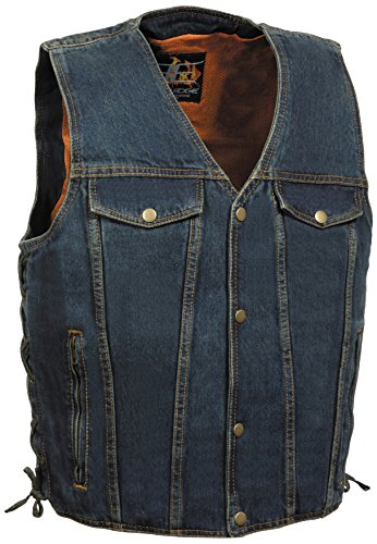 Milwaukee Performance DM1360-BLU-LGMILWAUKEE PERFORMANCE Men's Denim Style Vest with 2 Front Zippered Pockets(Blue, Large)