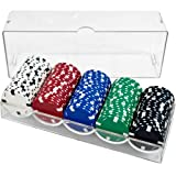 Clear Acrylic Poker Chip Rack/Tray with Covers - Set of 5
