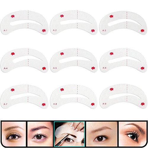 KINGMAS 9 Pcs Eyebrow Shaping Stencils, Eyebrow Grooming Stencil Kit, Shaping Templates DIY Tools