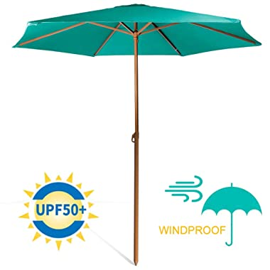 690GRAND Studry 8ft Shade Vented Patio Umbrella Aluminum Poles with Polyester Canopy Portable for Beach Outdoor UV Protection UPF 50+