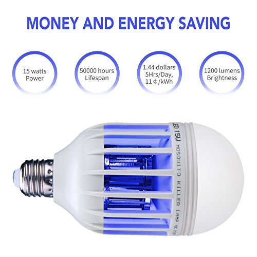Inpher 4 Pack Bug Zapper Light Bulb, UV LED Mosquito Killer Lamp 1200LM 15W 2 in 1 Electronic Insect Killer, Fits in 110V E26 E27 Repellent Bulb Socket Base for Indoor Outdoor Porch Patio Backyard by Inpher (Image #3)