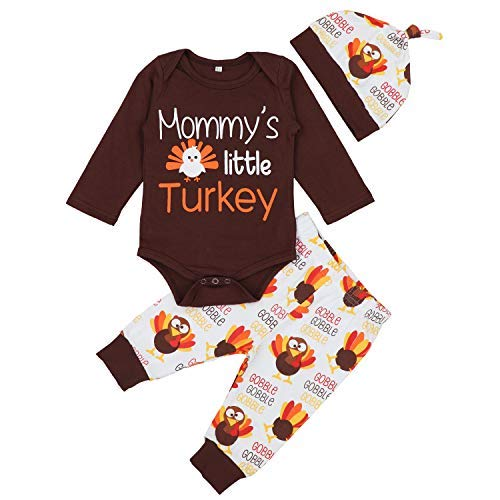 Baby Boy Girl Thanksgiving Outfit Newborn 1st Thanksgiving Onesie Turkey Pants with Hat Clothes Set 0-3 Months Brown